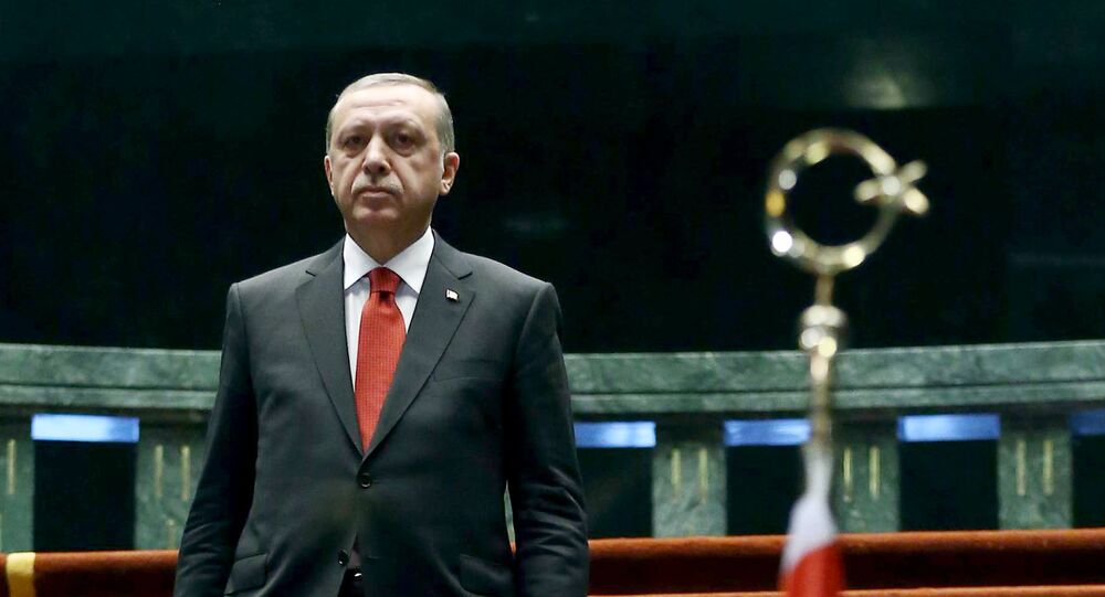 The President of Turkey Recep Tayyip Erdogan arrives to welcome the President of Afghanistan Ashraf Ghani (not seen) during an official ceremony at Presidential Complex in Ankara, on December 24, 2015