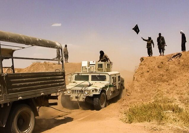 Islamic State of Iraq and the Levant (ISIL) militants waving the trademark Jihadits flag as vehicles drive on a newly cut road through the Syrian-Iraqi border between the Iraqi Nineveh province and the Syrian town of Al-Hasakah (File)