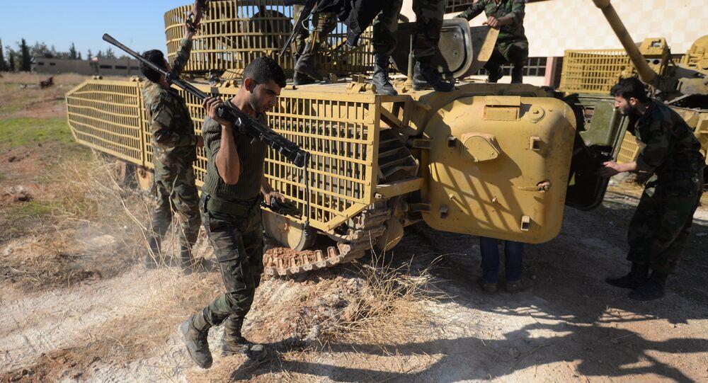 Syrian Arab Army soldiers on Kweiris air facility