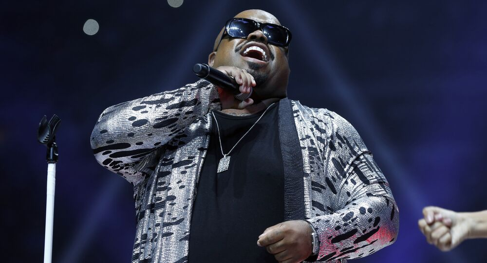 Recording artist CeeLo Green performs during halftime of an NBA basketball game between the Utah Jazz and the Detroit Pistons, Wednesday, Oct. 28, 2015, in Auburn Hills, Mich