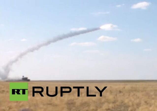 Mighty missiles fired from moving launcher Tor-M2U SAM