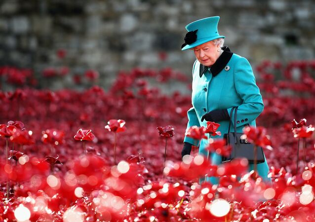 Britain's Queen Elizabeth II visits the Tower of London's 'Blood Swept Lands and Seas of Red' poppy installation in central London on October 16, 2014