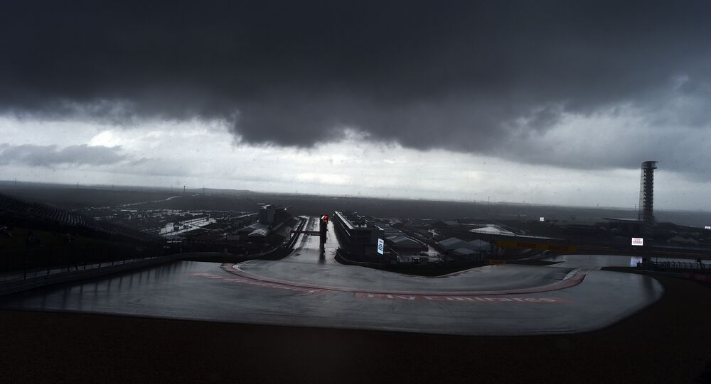 Storm clouds hover over the Circuit of The Americas in Austin, Texas