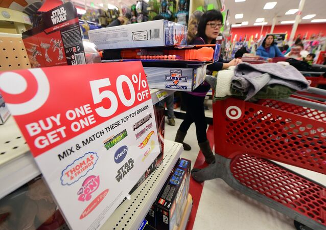 People shop for bargains at a Target store in Alhambra, California, which opened at 6pm on Thanksgiving Day, November 26, 2016.