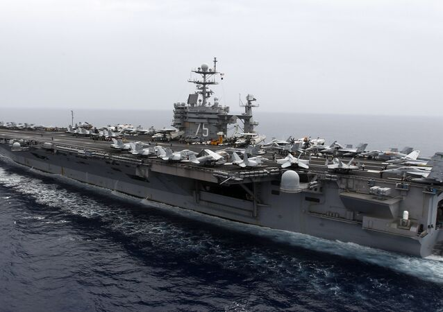 A general view shows the nuclear-powered aircraft carrier USS Harry S. Truman.