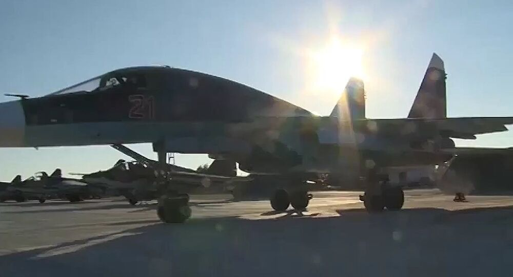 A Su-35 fighter of the Russian Aerospace Forces prepares for a takeoff at the Hmeimim airbase in Syria's Latakia province.