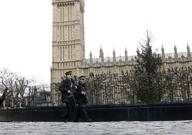 Armed police are seen on patrol at The Houses of Parliament in London, England
