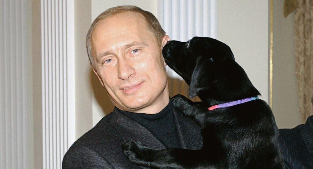Vladimir Putin presenting puppies to Alexei Belevets and Katya