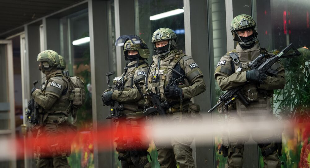 Police is pictured outside the Munich train station on December 31, 2015.