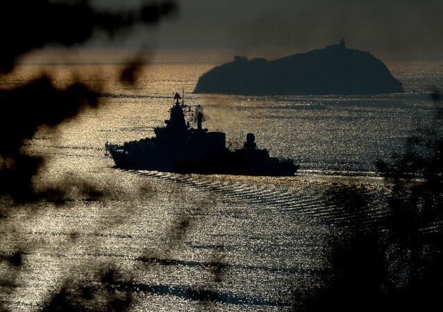The Varyag guided missile cruiser, one of the Pacific Fleet vessels heading for maneuvers in the Indian Ocean, seen in the Eastern Bosphorus Strait