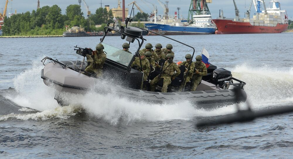 Servicemen on board the warfare craft at the opening ceremony of the Fifteenth International Maritime Defense Show in St.Petersburg