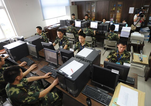 Chinese military officers take over the task of checking and tallying the results of the recently concluded college entrance examination or better known by its Chinese abbreviation gaokao, to ensure full impartiality, in Hefei, eastern China's Anhui province on June 14, 2008