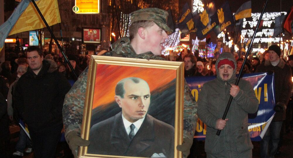 Nationalists hold torchlight procession to commemorate birth of Stepan Bandera. File photo