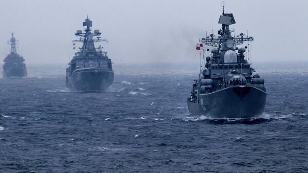 Russian Pacific Fleet warships during a naval parade in the Peter the Great Bay marking the wrap-up of the Joint Sea 2015 II Russian-Chinese naval drill - Sputnik International