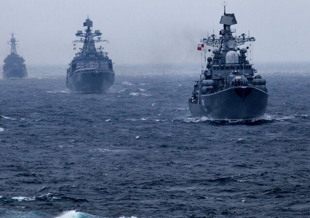 Russian Pacific Fleet warships during a naval parade in the Peter the Great Bay marking the wrap-up of the Joint Sea 2015 II Russian-Chinese naval drill
