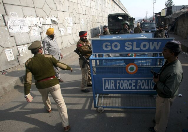 File Photo: Indian security personnel place a barricade on a road outside the Indian Air Force (IAF) base at Pathankot in Punjab, India, January 3, 2016