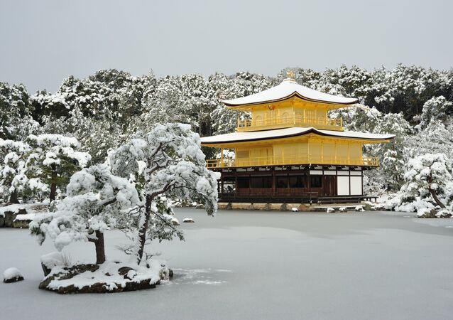 Kinkakuji temple in snow, Japan