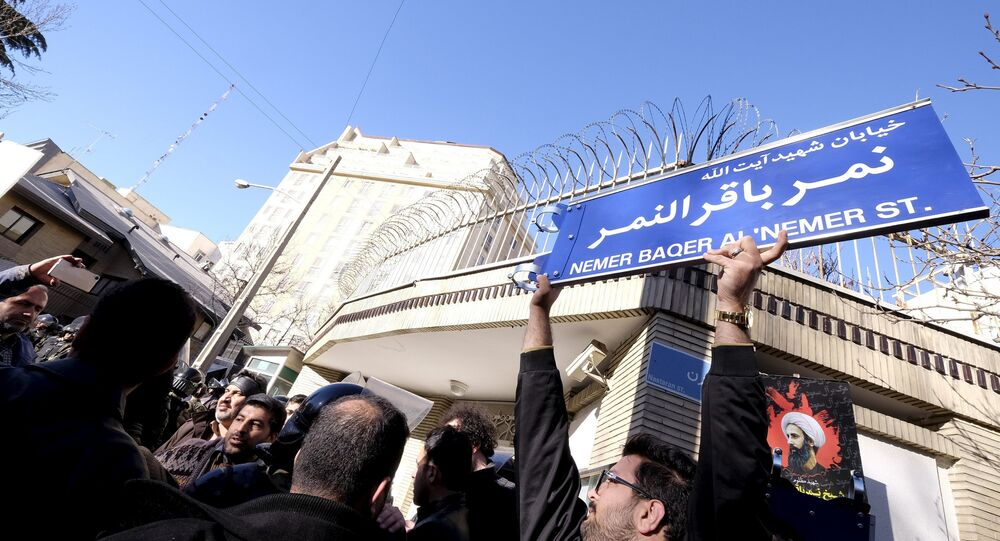 An Iranian protester holds up a street sign with the name of Shi'ite cleric Sheikh Nimr al-Nimr during a demonstration against the execution of Nimr in Saudi Arabia, outside the Saudi Arabian Embassy in Tehran January, 3, 2016