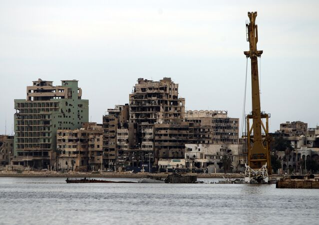 A general view shows destroyed buildings in Libya's eastern coastal city of Benghazi on October 20, 2015