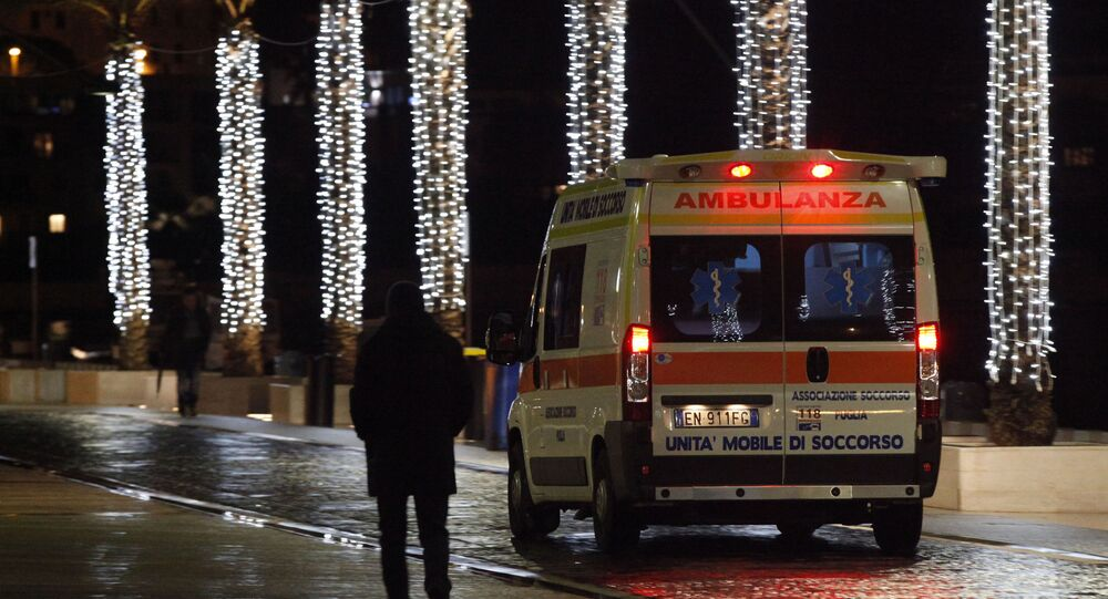 An ambulance arrives with injured at the Antonio Perrino hospital in Brindisi, southern Italy