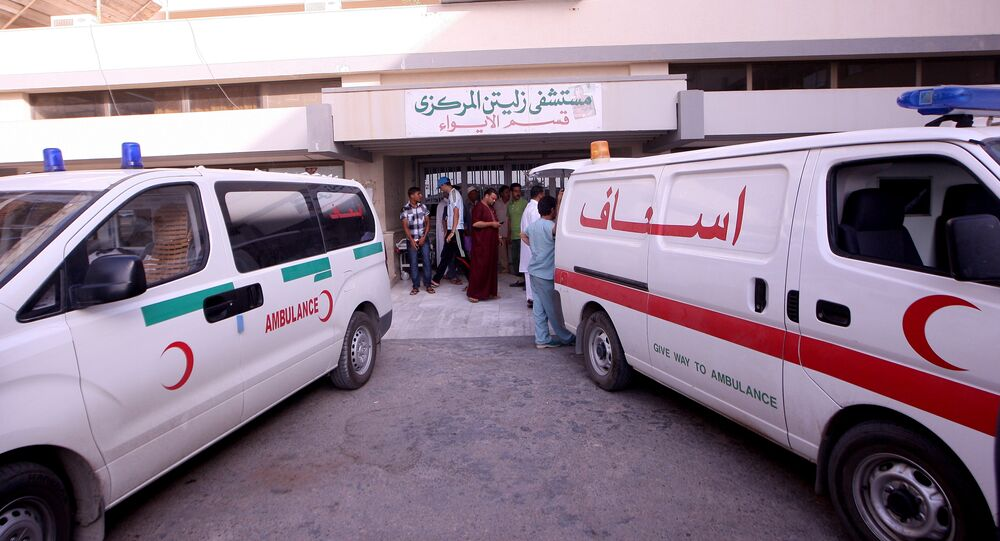 Rescue vehicles outside the hospital in Zliten, some 160 km east of Tripoli