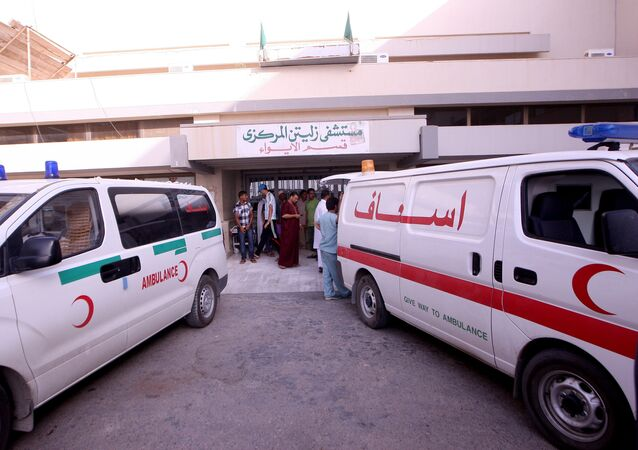 Rescue vehicles outside the hospital in Zliten, some 160 km east of Tripoli