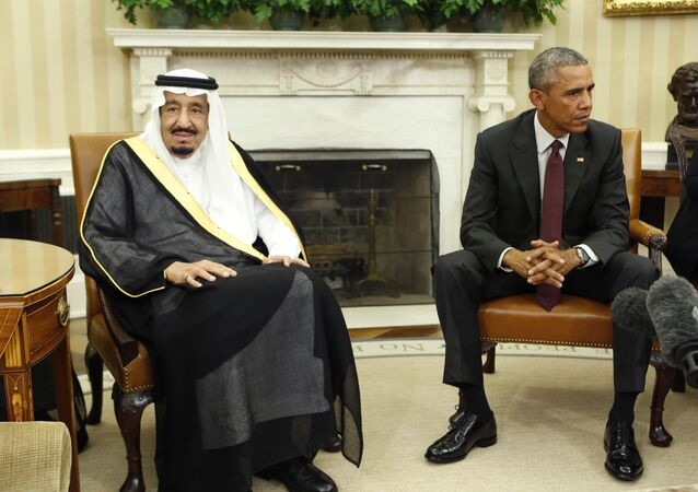 US President Barack Obama speaks with King Salman (L) of Saudi Arabia during their meeting in the Oval Office at the White House in Washington, DC on September 4, 2015