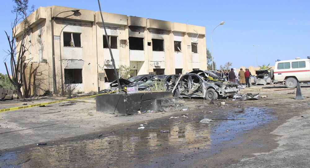 A general view shows the damage at the scene of an explosion at the Police Training Centre in the town of Zliten, Libya, January 7, 2016.