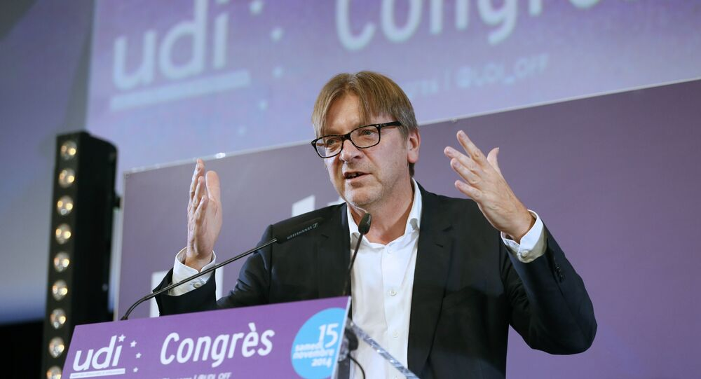 Guy Verhofstadt, leader of the Alliance of Liberals and Democrats (ALDE) in the European Parliament.