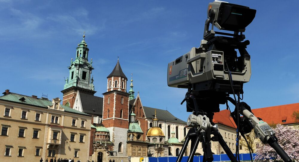 A TV camera overlooks the Wawel castle, Poland