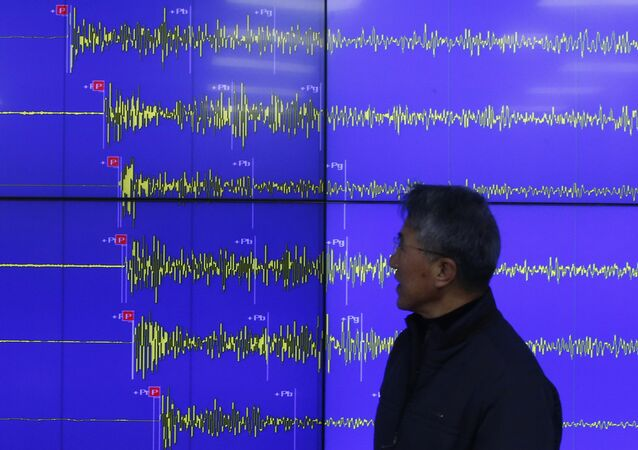 Earthquake and Volcano of the Korea Meteorological Administration Director General Yun Won-tae stands in front of a screen showing seismic waves that were measured in South Korea, in Seoul Wednesday, Jan. 6, 2016