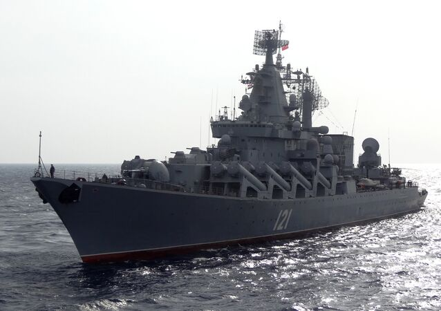 The Russian missile cruiser Moskva patrols in the Mediterranean Sea, off the coast of Syria, on December 17, 2015