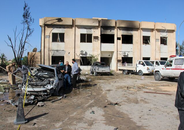 A general view shows the damage at the scene of an explosion at the Police Training Centre in the town of Zliten, Libya, January 7, 2016