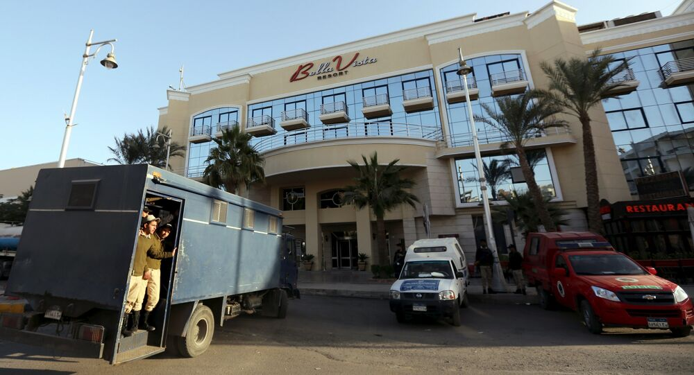 Egyptian security personnel guards the entrance to the Bella Vista Hotel in the Red Sea resort of Hurghada, Egypt, January 9, 2016