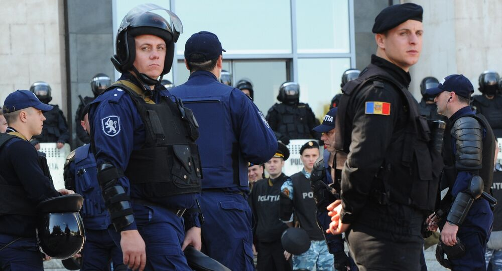 Police officers in downtown Chisinau