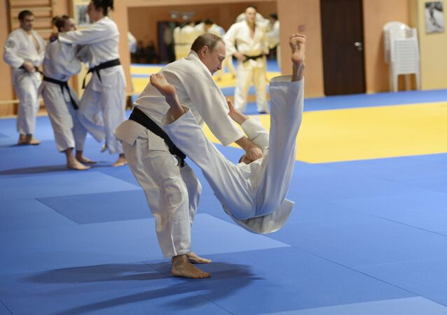 Russian President Vladimir Putin during the training session with members of the Russian national judo team, January 8, 2016