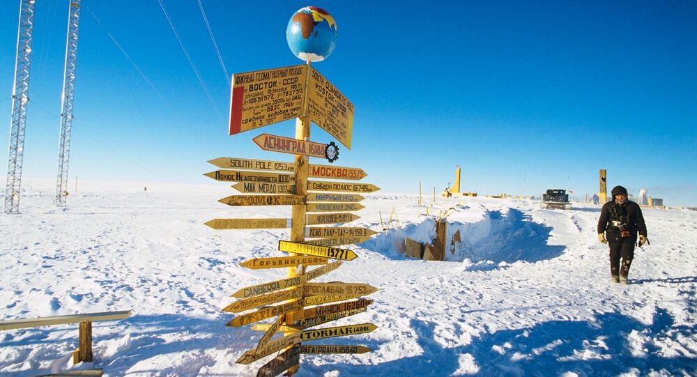 Traffic signs at the Vostok Soviet Antarctic research station in the vicinity of the South Geomagnetic Pole