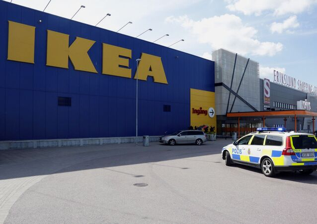 Mobile phone picture taken on August 10, 2015, shows a police car in front of an Ikea market in the central Swedish town of Vasteras  (File)
