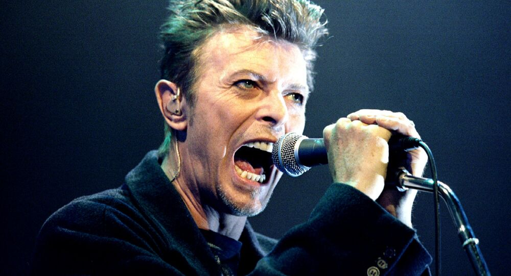 David Bowie performs during a concert in Vienna, Austria in this February 4, 1996 file photo