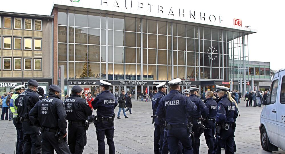 Police officers patrol in front of the main station of Cologne, Germany (File)