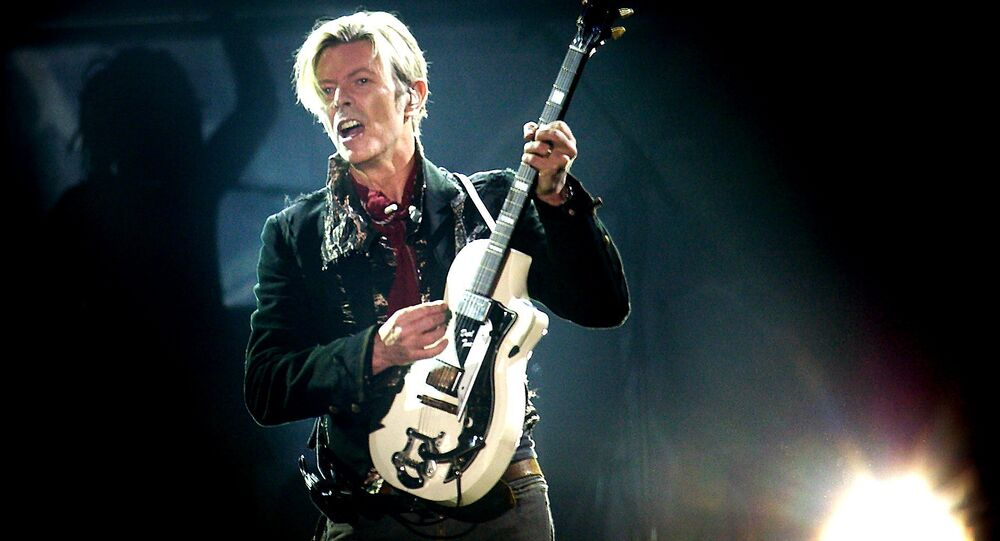 Rock legend David Bowie performs on stage at the Forum in Copenhagen late 07 October 2003