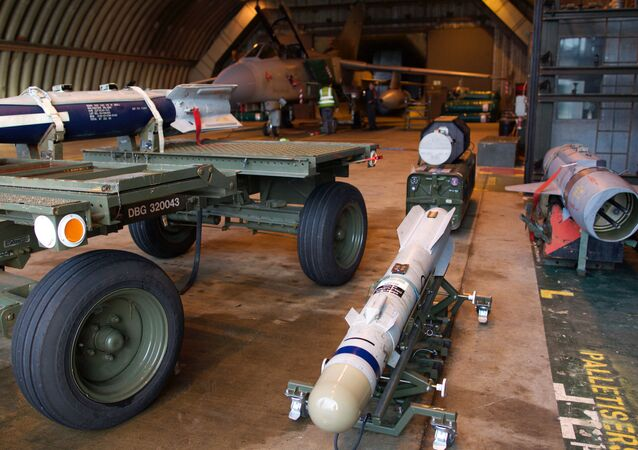 A picture shows a Brimstone missile, a rocket-propelled, radar-guided air-launched ground attack weapon designed to be carried by the Tornado GR4 and Typhoon F2, as preparations are made at the British Royal Air Force airbase RAF Marham in Norfolk in east England on December 2, 2015 to launch Tornado GR4 aircraft to operate on missions from RAF Akrotiri