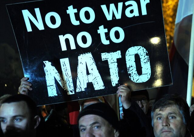 Protesters hold a placard reading No to war, no to NATO.