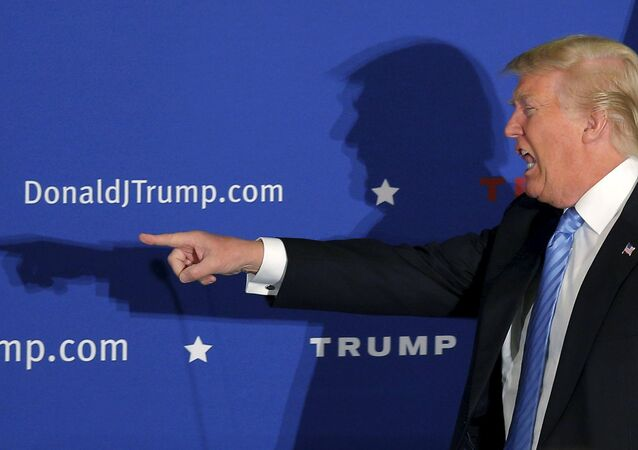 US Republican presidential candidate Donald Trump takes the stage at a campaign rally in Windham, New Hampshire, January 11, 2016.