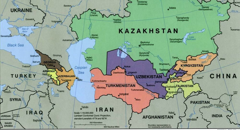 Caucasus central asia political map 2000