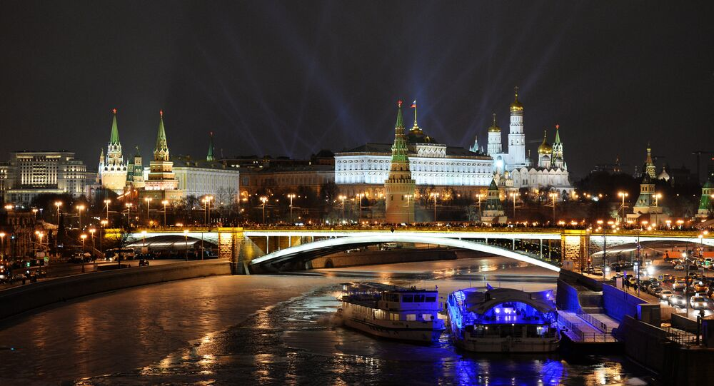A view of the Moscow Kremlin from Patriarshiy Bridge on New Year's Eve