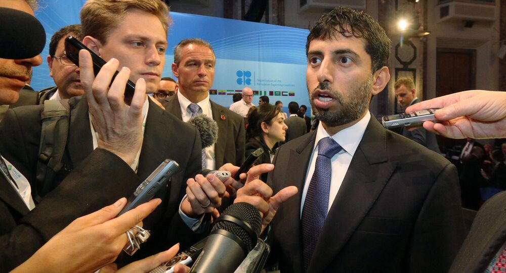Suhail Mohamed Al Mazrouei, Minister of Energy of the United Arab Emirates, UAE, speaks to journalists