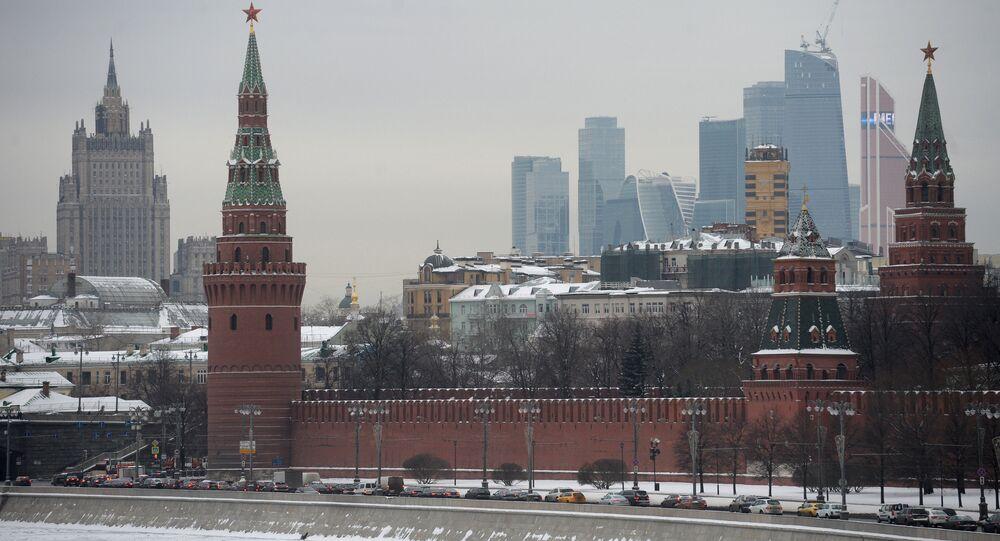 The Moscow Kremlin as seen from the Bolshoi Moskvoretsky Bridge.