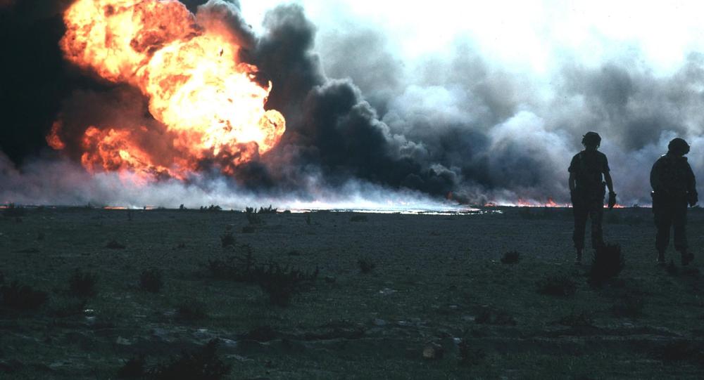 Burning oilfield during Operation Desert Storm, Kuwait