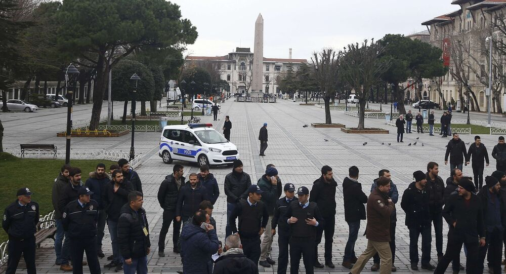 Police and security services secure the area around the Obelisk of Theodosius at Sultanahmet square in Istanbul, Turkey.